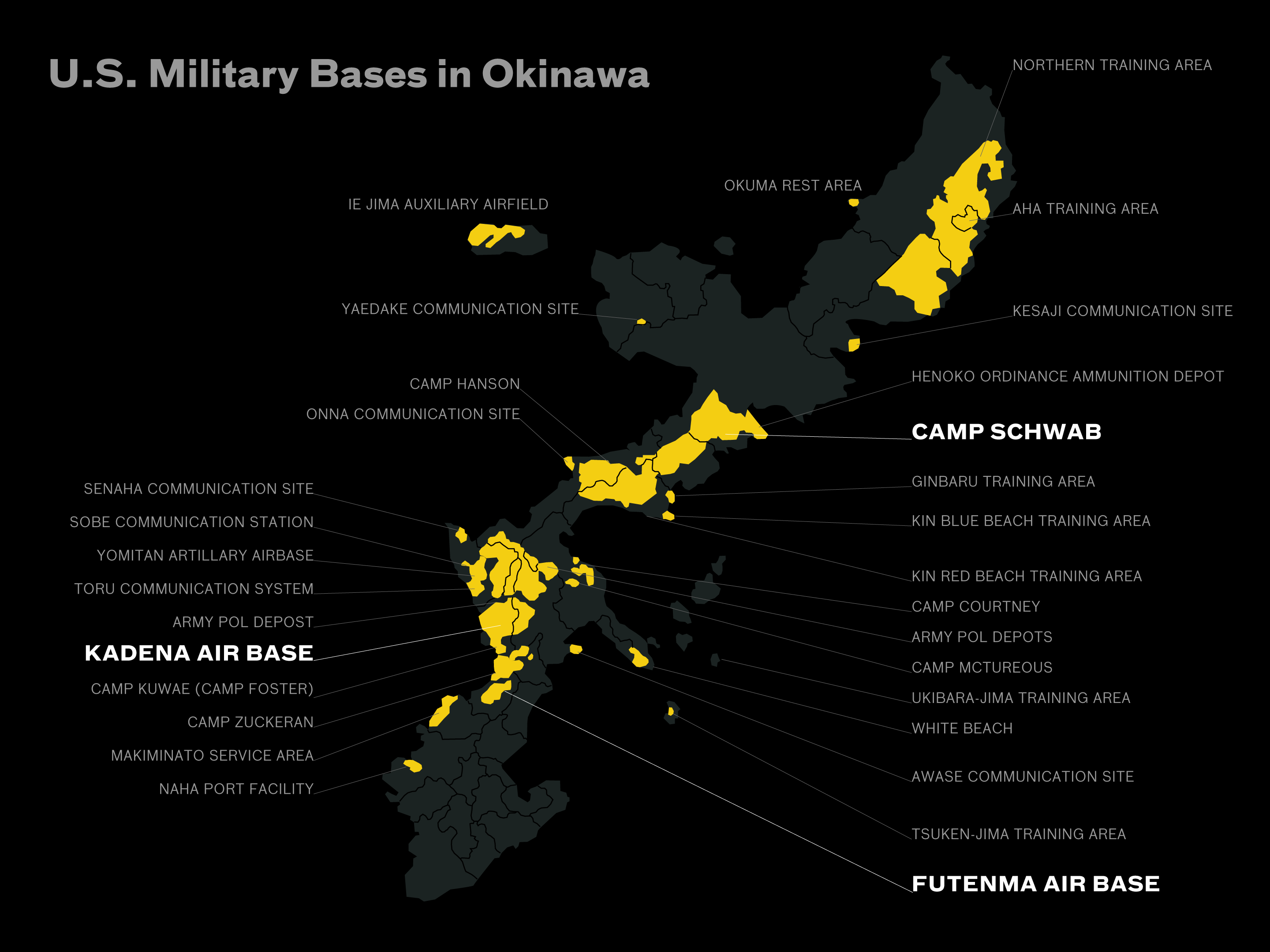Okinawa Japan Maps Including US Military Bases List Of United - Map of south korea us army bases